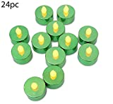 Green Tea Lights - Set of 24 Green Led Candles - Flame Free Metallic Green Tealights - St Patrick's Day Decorations - Wedding - Parties - Green Party Decorations