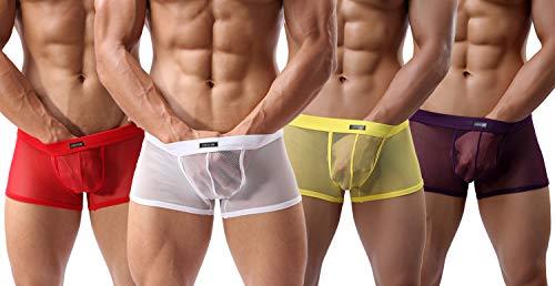 (Evankin Men's Boxer Briefs Soft Underwear Mesh Breathable Gay Low Rise)