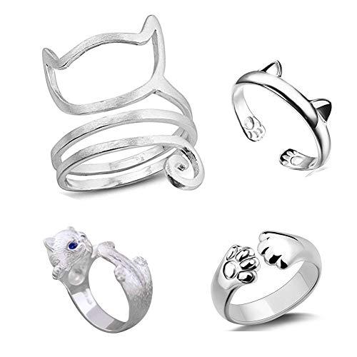 VQYSKO 4 Pcs Cat Rings Sterling Silver Cat Rings Kitty's Paw Ear Ring Set from VQYSKO
