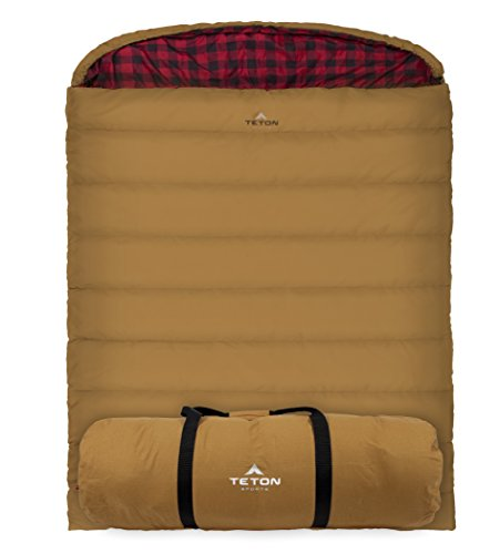 TETON Sports Mammoth +20F Queen-Size Double Canvas Sleeping Bag; Warm and Comfortable for Family Camping
