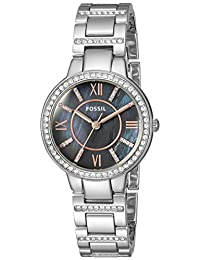 Fossil Women's 'Virginia' Quartz Stainless Steel Casual Watch, Color:Silver-Toned (Model: ES4327)