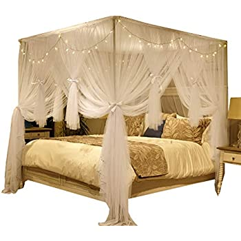 Nattey 4 corners post canopy bed curtain for - Bed canopies for adults ...