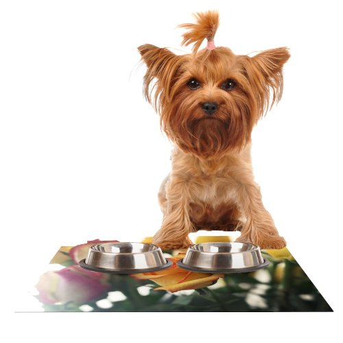 Kess InHouse Beth Engel Sweet Reminder  Flowers Yellow Feeding Mat for Pet Bowl, 24 by 15