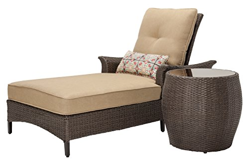Hanover Gramercy 2-Piece Outdoor Wicker Chaise Lounge Set, Brown/Tan 2 Piece Set Chaise