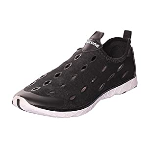 UJoowalk Womens Mens Cool Casual Quick Drying Slip-on Athletic Aqua Water Shoes Swiming Beach Shoes (10 B(M) US, Black)
