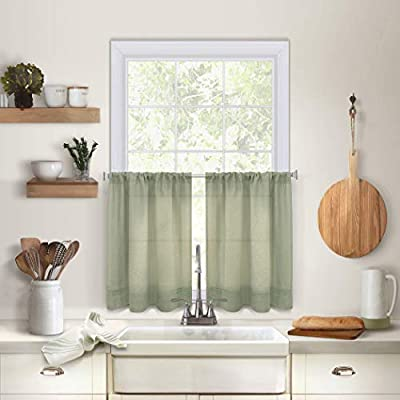 Elrene Home Fashions Pintuck Kitchen Window Tier Set Of 2 30 X 36 Sage 2 Pieces Amazon Sg Home