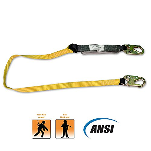 KwikSafety Yellow 6 foot Lanyard | Comfortable Premium Quality Fall Protection Safety Equipment w/ Shock Absorber & Snap Hooks | Roofing Construction Emergency Military | for Men Women | Single Leg