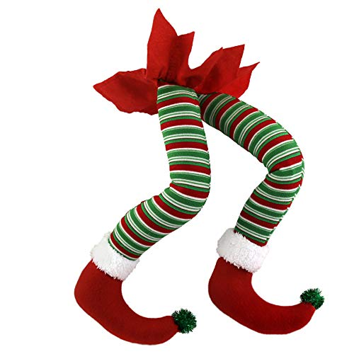 WEWILL 20 Elf Legs for Christmas Decorations Stuffed Legs for Christmas Home Party Tree Fireplace Ornaments (Red)