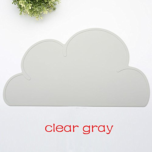 Zehui Cute Cloud Placemat for Baby & Kids Silicone Waterproof Table Mat Healthy Soft Home Kitchen - Tower Map Place Water