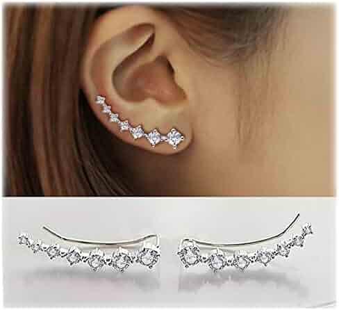 Elensan 7 Crystals Ear Cuffs Hoop Climber S925 Sterling Silver Hypoallergenic Women Earrings