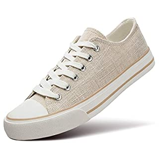 ZGR Women's Canvas Low Top Sneaker Lace-up Classic Casual Shoes(Beige US7)