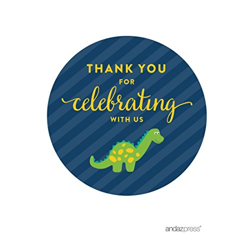 Andaz Press Birthday Round Circle Labels Stickers, Thank You for Celebrating With Us, Dinosaur, 40-Pack, For Gifts and Party Favors