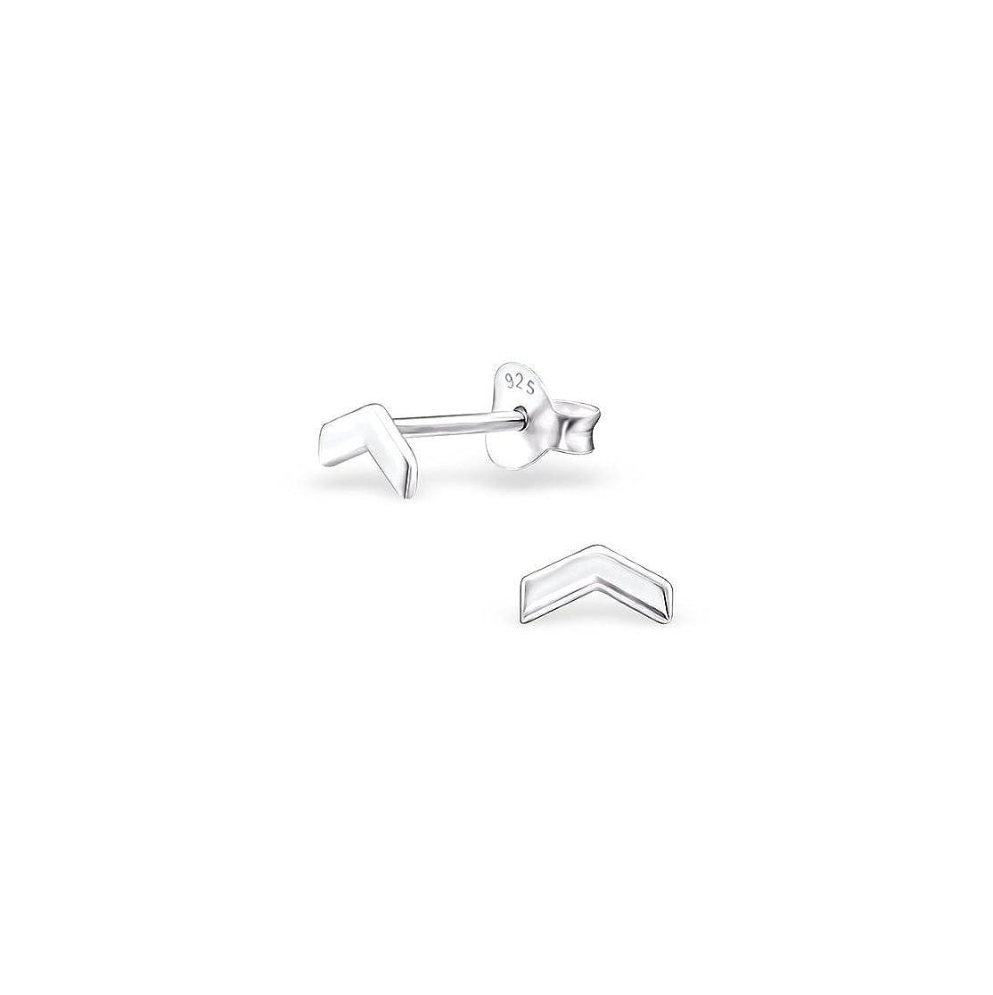 925 Sterling Silver Arrow Plain Ear Studs