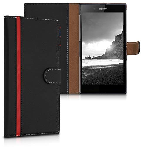kwmobile Wallet Case for Sony Xperia Z Ultra - Protective PU Leather Flip Cover with Magnetic Closure, Card Slots and Kickstand (Best Case For Sony Xperia Z Ultra)