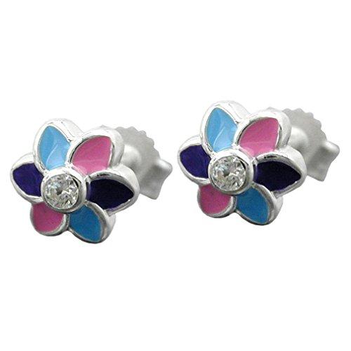 Boucles d'oreilles pour enfants fleur avec zircone argent véritable 7,6 mm stud