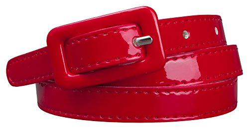 Red Skinny Belt (Womens Covered Buckle Patent Leatherette Skinny Belt (M(30.5