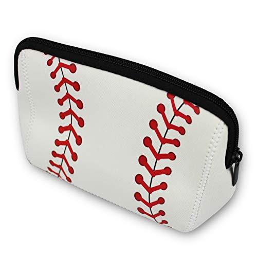 Knitpopshop Baseball Softball Make Up Bag Portable Snack Cosmetics Toiletries Neoprene washable travel beach women girls mom gift team player (Baseball)