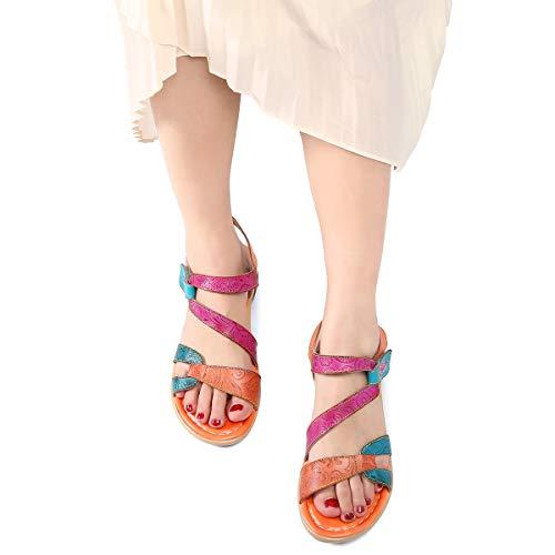 A Estilo Cuero Zapatos Planas Gracosy 37 Romanas Rosa Hecho Púrpura Naranja Rojo Dedo De Sandalias Los 42 Azul Talla Mujer 2019 Mano Grande Verano Bohemia Para Chanclas x0qBEXEw5r