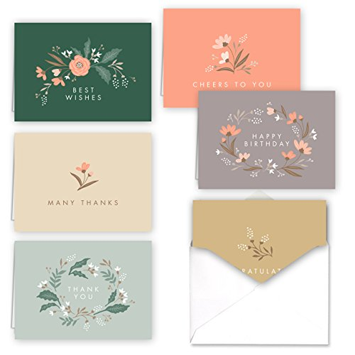Soft Springs Floral Thank You - Congratulations - All Occasion Folded Assortment Card Pack - Set of 36 cards, 6 designs - 6 cards per design, 4 7/8'' x 3 - Blank Canopy