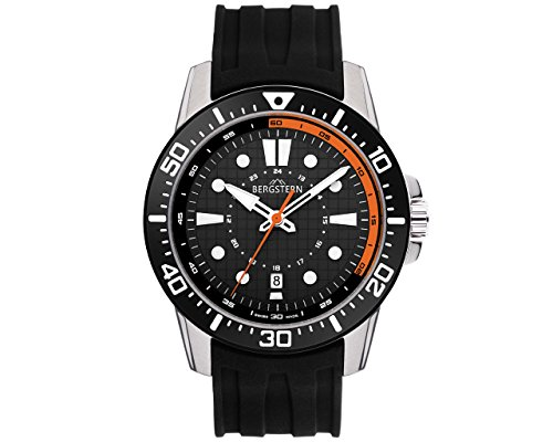 BERGSTERN ACTIVE B023G113 Swiss Made 44,5mm men's watch Rubber strap, Swiss Movement and 3 years (Movement Rubber Strap)