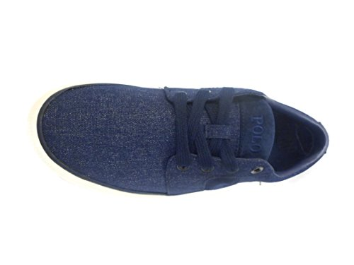 Polo Ralph Lauren Mens Halmore Tela Moda Sneaker Newport Blu Scuro