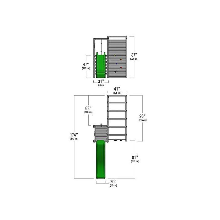 Parque de juegos - Calidad y seguridad aprobada Madera maciza impregnada a presión - Poste 7x7cm - Made in Germany Varias opciones de montaje - Instrucciones de montaje detalladas - Todos los tornillos necesarios