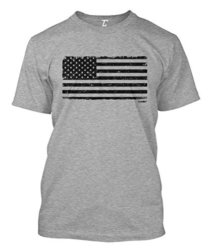 (Distressed Black USA Flag - Patriotic Men's T-Shirt (Light Gray, Medium))