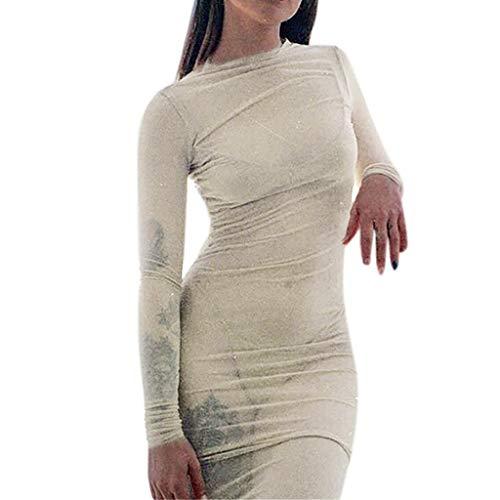 Ximandi Fashion Womens Sexy O-Neck Long Sleeve Perspective Net Yarn Backing Mini Dress Khaki ()