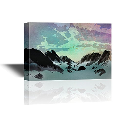 Abstract Landscape with Mountains Covered by Snow