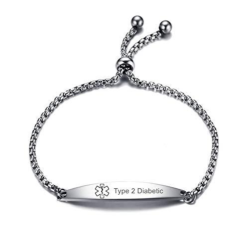 LiFashion CL Stainless Steel Type 2 Diabetic Medical Alert ID Sos Emergency Link Identification Bracelet for Men Women,Adjustable Diabetic Type 2 Medic Jewelry for Women Girls Kids,10-25cm (Type2 Diabetic Bracelet)
