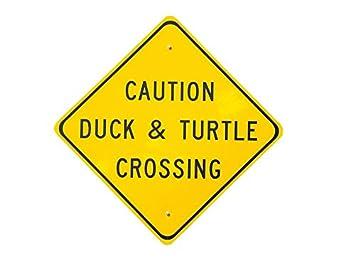 amazon ラミネート加工ポスターcrossing sign看板caution duck and