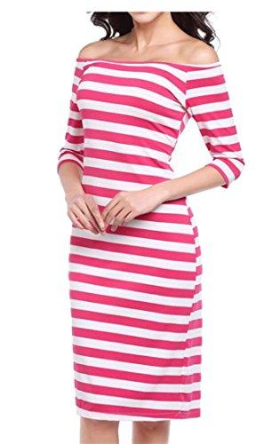 Jaycargogo Work For Knit Sleeve Rose Women's Red Women Striped Casual Sweater Long Pencil Dress rYqrZwf