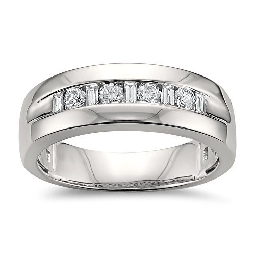 (14k White Gold Baguette & Round Diamond Men's Comfort Fit Wedding Band Ring (1/2 cttw, H-I, SI1-SI2), Size 11)