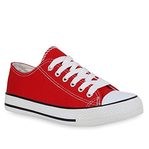 Stiefelparadies Low Rot Sneaker Damen Herren Übergrößen Unisex Flandell q0vzrIq