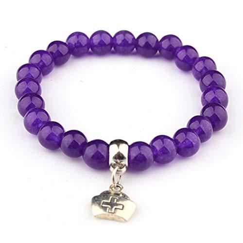 THEROP Fashion Purple Chalcedony Bracelet 8Mm Jade Medicine Bag Pendant Single Ring Bracelet Bracelet