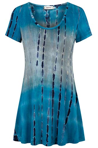 (BEPEI Tunic Shirts for Women Summer,Round Neck Tie Dye Casual Comfy Knit Short Sleeve Tops Holiday Blouses Wear with Dress Pants Blue Grey XL)