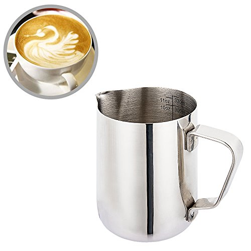 12 Oz (350ml) Milk Pitcher Milk Steaming Pitcher 304 Stainless Steel Pitcher with Measurement Perfect for Milk Frother, Latte Arts,Espresso Machines 12 Ounce Pitcher