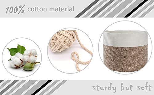 "Goodpick Large Cotton Rope Basket 15.8""x15.8""x13.8""-Baby Laundry Basket Woven Blanket Basket Nursery Bin - 100% cotton rope, healthy material without any chemicals woven basket Soft and firm basket, no collision scratches, perfect to accommodate baby's clothes and other toys in nursery Durable handles design, easy to move and take away, free awesome practical cotton large storage bin for daily use - living-room-decor, living-room, baskets-storage - 41QjzOj%2BoYL -"