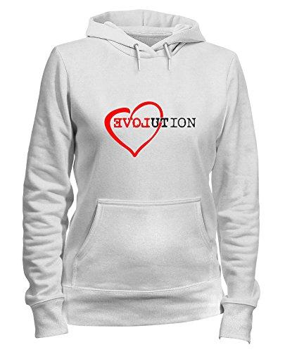 T LOVE Shirtshock Felpa Donna T0518 EVOLUTION Bianca Cappuccio qqBF0r4