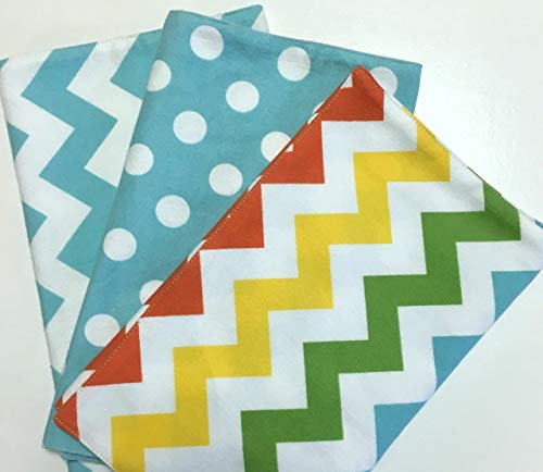Baby Burp Cloths Handmade Chevron Dots Cotton Flannel (Set of 3) Shower Gift