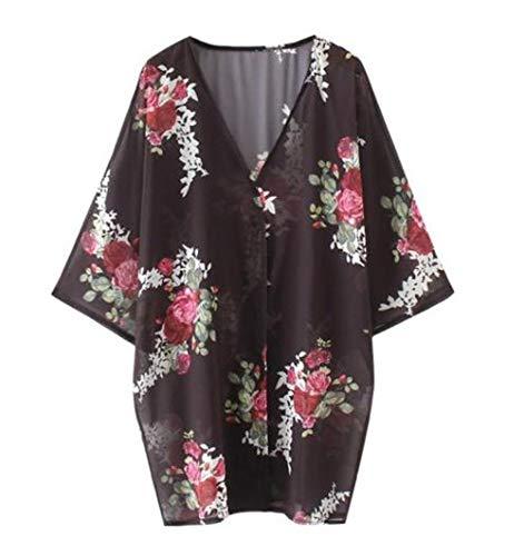 Da Spiaggia Simple E Floreali Cime Camicie Bluse Casual Giovane Primavera 4 Shawl Nero2 Moda Donne fashion 3 Autunno Maniche Cardigan Tops Kimono qOqE6Cw
