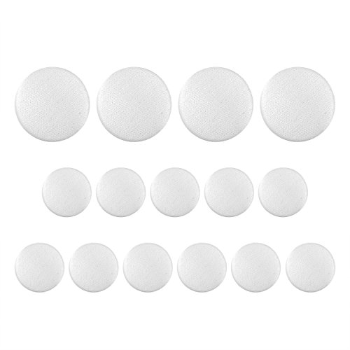 (ButtonMode Tuxedo Suit Buttons 15pc Set Includes 4 Jacket Front Buttons x 19mm (3/4 Inch) and 11 Jacket Sleeves and Dress Pants Buttons x 15mm (5/8 Inch), Ivory Satin, 15-Buttons)