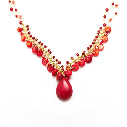 Handmade Natural Red Bamboo Sea Coral Beads Silk Thread Cluster Women Necklace 18 Inches
