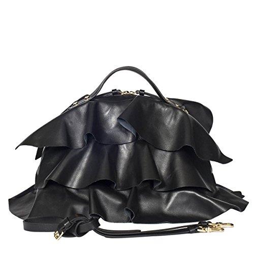 Borbonese 954834400100 Damen Handtaschen Schwarz Leder qqS8Pxr5