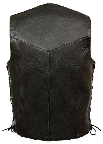 Milwaukee- Men's ''Goat Skin'' Side Lace Biker Leather Vest (Black, XL)
