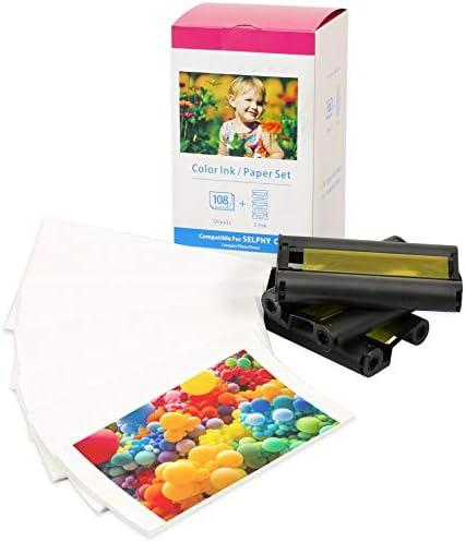 3 Farbkartuschen & Fotopapier (108 Blatt) kompatibel zu Canon KP-108IN für Selphy CP Fotodrucker Serie CP1000 CP1200 CP1300 CP780 CP790 CP800 CP810 CP910, Postkarten-Größe: 100 x 148mm