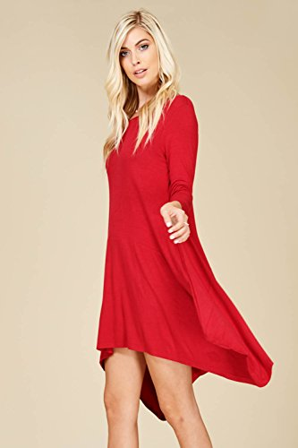 3 Neck Dresses Hem with Red Pockets Women's Scoop Sleeve 4 Dark Handkerchief Annabelle Irregular g4THxwqq