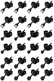 Finrezio 12Pairs Stainless Steel Tiny CZ Stud Earrings for Men Women Small Disc Ball Earrings Set Cubic Zircon