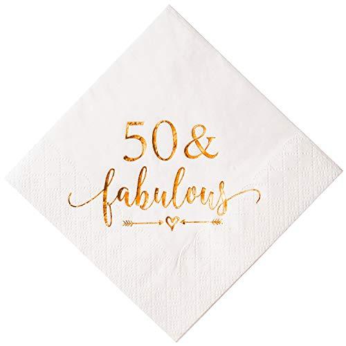 50th Birthday Napkins - Crisky 50 and Fabulous Cocktail Napkins