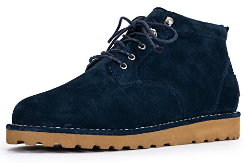 OZZEG Ladies' Genuine Leather Winter Boots Warm Shearling Boots Shoes (9 US, Navy Blue)